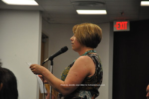 Sara Megletti of PB&J Stores speaks about the ordinance. Photo by Jennifer Jean Miller.