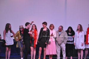 """The Rocky Horror Picture  Show"" pre-party with attendees in costume onstage. Photo by Jennifer Jean Miller."
