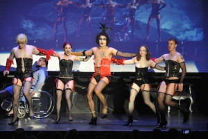 "The lineup onstage at The Newton Theatre for ""The Rocky Horror Picture Show."" Photo by Jennifer Jean Miller."