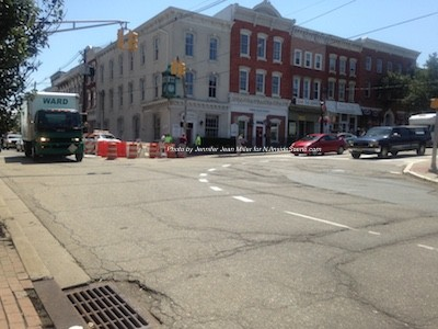 Two lanes from three heading from Main Street to Spring Street and Spring Street is officially a one-way street. Photo by Jennifer Jean Miller.