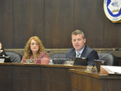 Newton's newly appointed Mayor Daniel Flynn and Deputy Mayor Sandra Diglio take their seats during the reorganization meeting. Photo by Jennifer Jean Miller.