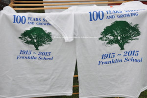 The Franklin Historical Society with t-shirts promoting the 100th anniversary of the Franklin School. Photo by Jennifer Jean Miller.