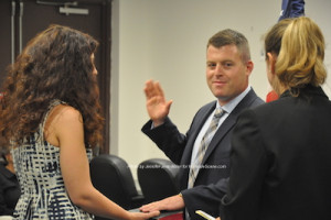 Daniel Flynn being sworn in as mayor. Photo by Jennifer Jean Miller.