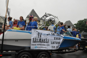 A boat towed through the parade for the Ski Hawks. Photo by Jennifer Jean Miller.