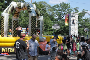Rock climbing and fun on bouncy rides were among the activities at Hopatcong Days. Photo by Jennifer Jean Miller.