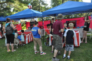Kids played games at Hopatcong Days under the tents. Photo by Jennifer Jean Miller.