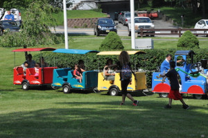 Kids and parents enjoyed a train ride in the park. Photo by Jennifer Jean Miller.
