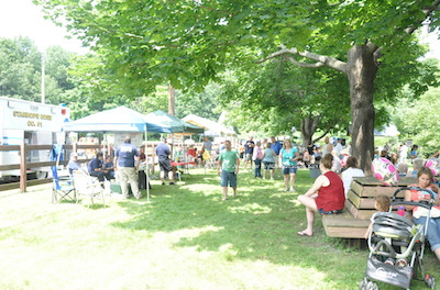 Attendees enjoyed the summer weather in Musconetcong Park. Photo by Jennifer Jean Miller.
