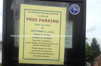 Parking in Downtown Newton is free in particular lots through September 11, 2015, M-F, 8 a.m.-6 p.m. Photo by Jennifer Jean Miller.