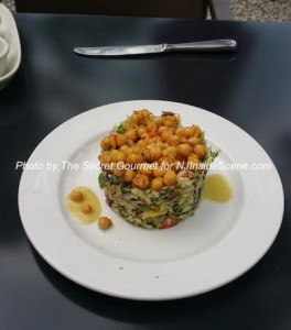 The salad at the St. Moritz with white garbanzo beans and white balsamic vinegar. Photo by The Secret Gourmet.