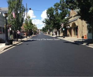 The newly paved Spring Street in Downtown Newton. Image courtesy of The Newton Theatre.