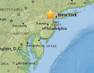 The location where the earthquake struck on August 14 in Bernardsville. Image courtesy of USGS.
