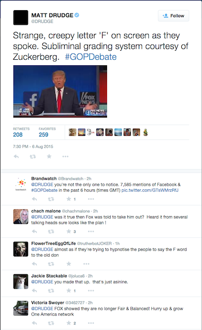 Matt Drudge's cached commentary on Twitter. Image courtesy of Google and Twitter.