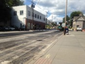 Crews begin paving the second half of lower Spring Street. Photo by Jennifer Jean Miller.