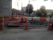 Bump out curbing where Spring Street meets Main Street. Photo by Jennifer Jean Miller.