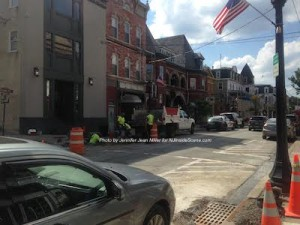 Construction on Spring Street when the waterline was installed in front of the Newton Fire Museum. Photo by Jennifer Jean Miller.