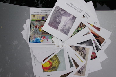 The artists' artwork cards. Photo courtesy of the Center for Prevention and Counseling.