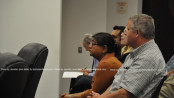Mittal Patel listens intently during the hearing. Photo by Jennifer Jean Miller.