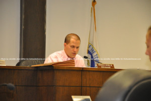 Town Manager Thomas S. Russo, Jr. reviews ordinances for draft on the agenda. Photo by Jennifer Jean Miller.