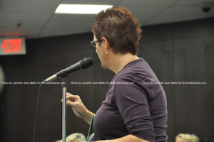 Missy Muller speaks during the public portion of the meeting. Photo by Jennifer Jean Miller.