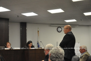 David Wallace, attorney for the applicant, asks to address the board. Photo by Jennifer Jean Miller.