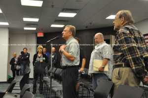 Michael Bezney thanks the planning board at the conclusion of the meeting. Photo by Jennifer Jean Miller.