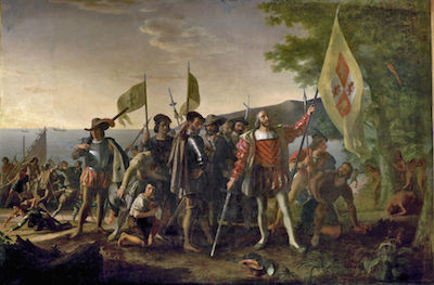 The Landing of Christopher Columbus in a painting by John Vanderlyn. United States Public Domain Image.