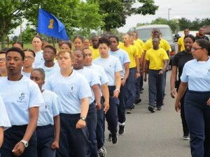 Mackenzie Hart (third from front) marching with her class. Image courtesy of New Jersey Youth ChalleNGe Academy Facebook.
