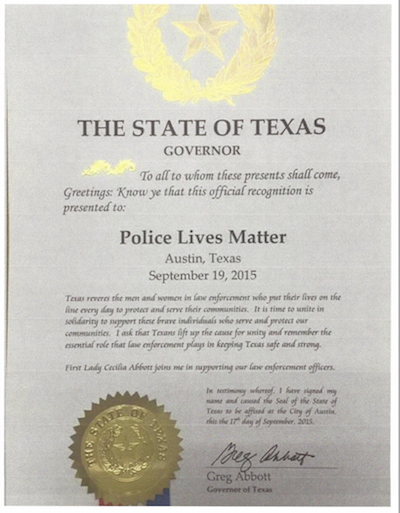 "The declaration in the State of Texas for ""Police Lives Matter."" Image courtesy of Parker Space and Gail Phoebus for State Assembly."