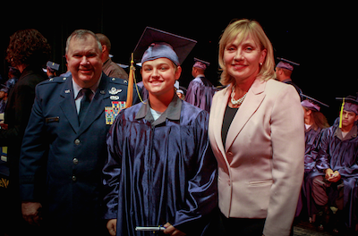 Mackenzie Hart at her graduation from the New Jersey Youth ChalleNGe Academy, Sept. 2015, pictured with Acting Gov. Kim Guadagno and Adjutant General of New Jersey Brig. Gen. Michael J. Cuniff. Photo courtesy of the US Army National Guard, Staff Sgt. Nick Young.