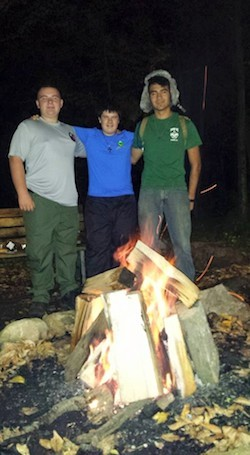John Z., Alex M., and John U enjoying the last night and last campfire of the camporee. Image courtesy of Venture Crew 276.