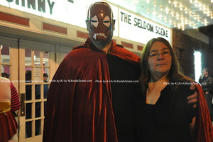 Two guests at The Rocky Horror Picture Show waiting to enter the theatre. Photo by AJ for NJInsideScene.