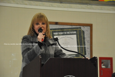 Gail Phoebus at the podium. Photo by Jennifer Jean Miller.