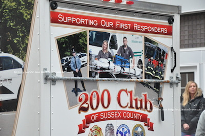 All branches of Emergency Services represented on the back of the 200 Club trailer. Photo by Jennifer Jean Miller.