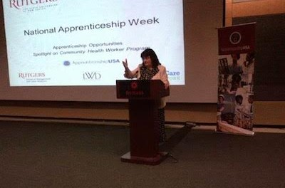 Patricia Moran, executive director of Workforce Development and Economic Opportunity for the state Labor Department, delivering remarks at the National Apprenticeship Week event held at Rutgers University's Busch Campus Center. Image courtesy of the New Jersey Department of Labor.