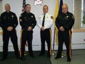 From L-R: Cpl. Stephen Murphy, Sgt. Eric Groeger, Sheriff Michael F. Strada, and Lt. Allan O'Gorman. Photo courtesy of the Sussex County Sheriff's Office.