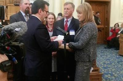 Assemblywoman Gail Phoebus sworn in to the General Assembly. Image courtesy of Legislative District 24.