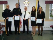 From L-R: Corrections Officer Brandon Fazio, Sergeant Paul Reiher, Sheriff Michael F. Strada, Licensed Practical Nurse Jean Thompson, and Registered Nurse Cathy Toth. Image courtesy of the Sussex County Sheriff's Office.