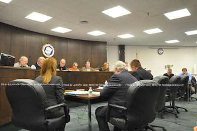 The planning board overseeing the meeting. Photo by Jennifer Jean Miller.