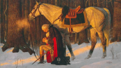 """The Prayer at Valley Forge."" Arnold Friberg painting, fair use image."