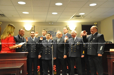 Franklin Fire Department Officers take their oath. They include: assistant chief Jason Doyle, captain Michael Raperto , Lt. Steve Knebl, Lt Khyle Conklin, Lt Steven Knebl, Administration President Frank Karpowicz , vice-president James Carroll , treasurer James James R. Nidelko and secretary Kevin Karpowicz. Photo by Jennifer Jean Miller.