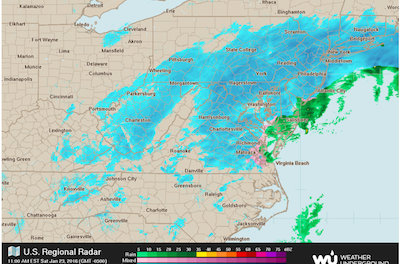 The regional weather map tracking the blizzard, courtesy of the Weather Underground.