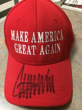 Tommy Schuldner's hat that Donald Trump signed for him in December 2015. Image provided.