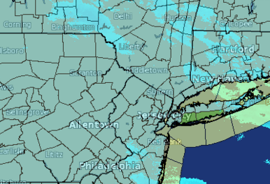 Local weather map for the Winter Weather Advisory beginning Feb. 15. Image courtesy of Weather Underground.