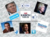 The current candidates clockwise - Hillary Clinton (D), Bernie Sanders (D), Marco Rubio (R), Ted Cruz (R), Donald Trump (R), John Kasich (R). Image created by Jennifer Jean Miller for InsideScene.com. All images used the respective property of the copyright owners.