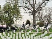 A burial at Arlington National Cemetery in 2008 for Sergeant Major of the Army George W. Dunaway. Public Domain Image by the United States Army.