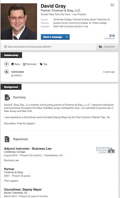 David Gray's LinkedIn Profile - Image courtesy of LinkedIn.