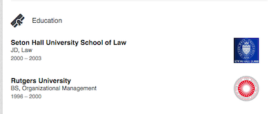 David Gray's educational information on his LinkedIn Profile. Image courtesy of LinkedIn.