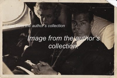 Marilyn Monroe and Joe DiMaggio traveling together to Japan in 1953. Photo from the author's collection.