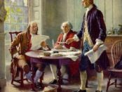 The artistic depiction of the Declaration of Independence being written, with (from left to right): Benjamin Franklin, John Adams and Thomas Jefferson. Public domain image by Jean Leon Gerome Ferris.